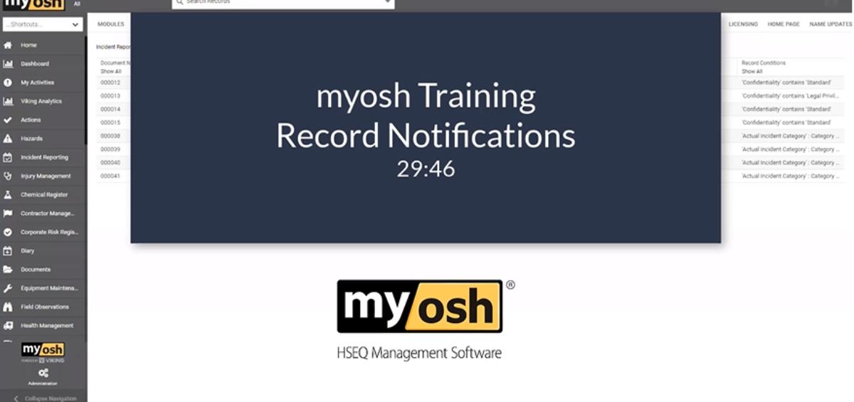 myosh Training Records Notifications